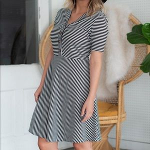 Dresses & Skirts - Black and white striped dress